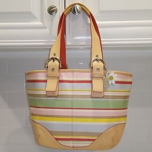 Coach Pastel Striped Daisy Medium Hobo Tote Bag
